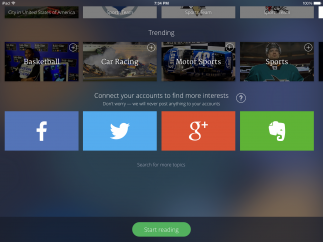 It's easy to connect and sync with social media and with Evernote from within the app.