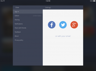 The settings menu lets users customize how they share and what they read.