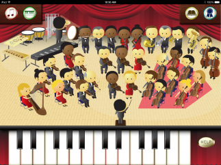 Tap the orchestra to turn different instruments on and off; tap notes on the piano and try different instrument sounds.