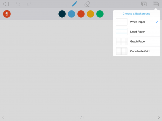 Use the interactive whiteboard space to write, graph, draw, import images, and record audio.