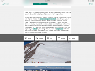 Features let users enter text and images to create interactive, explorable presentations.