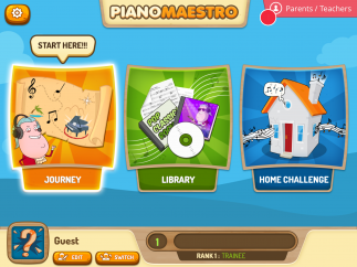 """Choose from three sections: """"Journey,"""" """"Library,"""" or """"Home Challenge."""""""