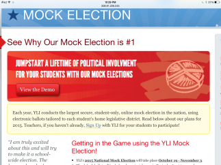 YLI Mock election lets students simulate voting in national and local elections.