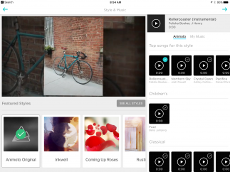 Users can choose photos and music from their own devices or online.