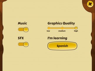 The settings screen lets users toggle a few features, including the target language.