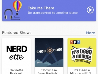 """The opening screen shows the main categories: Deep Dives, Featured Shows, """"Recommended,"""" Recently Heard, Save for Later."""
