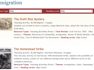 Teaching activities and recommended reading provides alternative view of immigration.