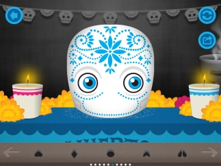 Choose eyes, nose, mouth, decorations, and labels for a festive sugar skull.