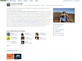 Profiles include an introduction, an image of the user, who they follow, and their favorite organisms.