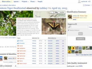 Users upload observations, which include a picture, location, and classification of the living thing.
