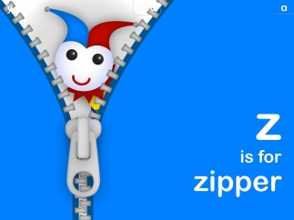 Elements are interactive, like zipping a zipper or moving a train.