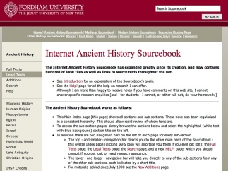 The Ancient History Sourcebook includes listings for Mesopotamia, Egypt, and the Hellenistic World.