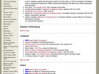 Some sections, like this listing in the Religion Since 1945 section, are missing information.