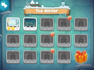 Each themed chapter has several levels; kids can earn up to three stars per level.