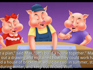 "Colorful adaptation of ""Three Little Pigs"" adds some modern twists like the eldest pig's proposal to build a house together."
