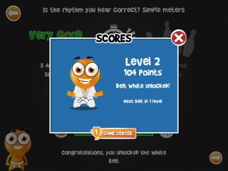 Correct answers in test mode earn users points and martial arts-style colored belts.