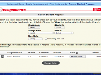 The teacher dashboard can help track assignments.