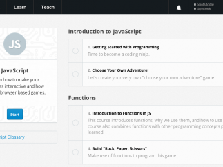 The JavaScript tutorial is laid out in a series of organized lessons
