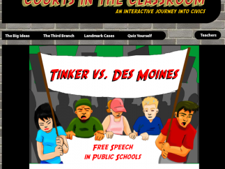 The Courts in the Classroom section has engaging animations about real court cases.
