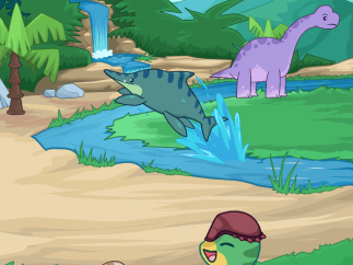 Dinosaur characters, backgrounds, and cute dinosaur-era nature props.