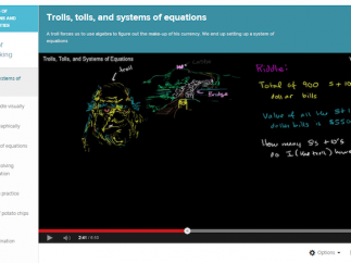 """The video, """"Trolls, Tolls, and Systems of Equations"""" presents a creative way to introduce this concept."""