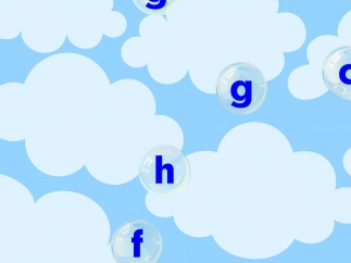 Bubble letter-popping game connects words with beginning letter sounds.