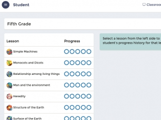 Teachers can track which lessons students have completed.
