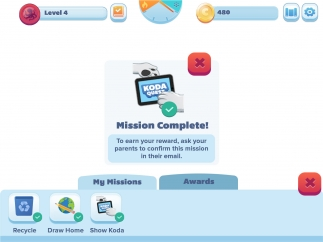Kids can earn more points if their parents (or teachers) confirm that they actually completed a real-life mission.