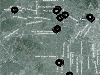 The Map section has a map of Los Angeles with plots of 17 significant events.