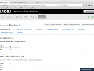 The instructor dashboard provides access to student accounts and data.