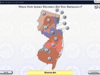 Choosing a district introduces players to mechanics of representation.