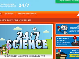 The main screen to Lawrence Hall of Science: 24/7 Science shows access to science games or collections of science investigations.