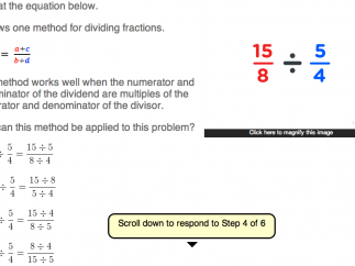 "Step four demonstrates how to simplify dividing two fractions; kids can answer this question or click on ""hint"" for more help."