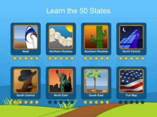 Earn stars for identifying each state in each region.