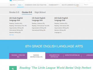 The 8th grade lessons cover a broad range of Common Core standards for English.