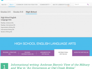 The high school lessons cover a broad range of Common Core ELA standards.