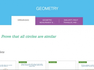 Video lessons address three of the six geometry domains.