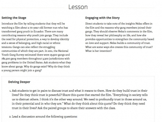 Detailed lesson plans are provided for all stories.