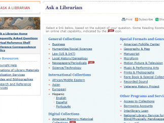 The Ask a Librarian feature allows you to contact a librarian (and maybe even chat).
