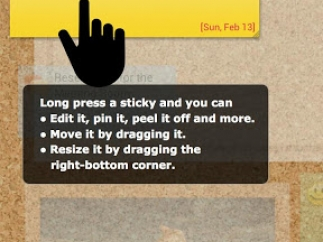 Instructions on how to work with stickies on an Android device.