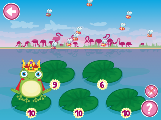 The last level asks for numbers up to 10, and has five lily pads.