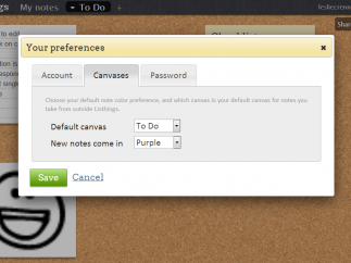 Preferences allow users to indicate the default canvas and one of twelve backgrounds.