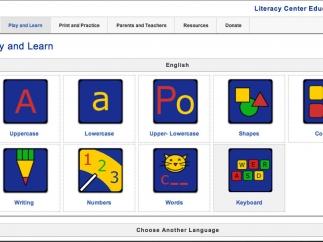 Play and Learn categories in English; also available in Spanish, French, and German.