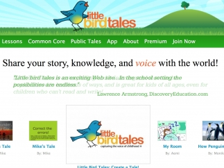 Get started by creating an account or browsing sample tales at the site's landing page.