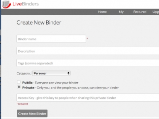 Creating a new binder is relatively easy with site directions.