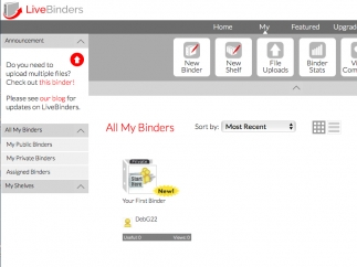 Binders are displayed on the home page.