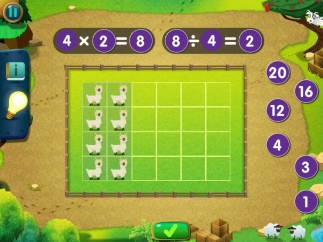 Multiplication and division are tied together to help kids see connections.