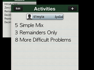 Activities can be customized by number and type of problems.