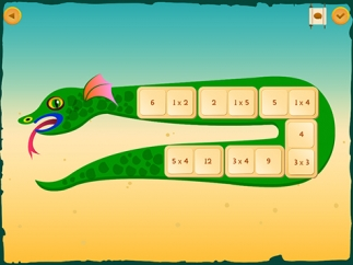 Drag tiles into a snake picture to complete multiplication tables.
