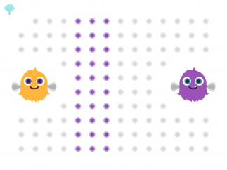Help each critter eat its matching colored dots.